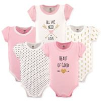 "Hudson Baby® Size 18-24M 5-Pack ""Heart of Gold"" Short Sleeve Bodysuits in Pink"