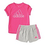 adidas® Size 9M 2-Piece Sparkle Logo Shirt and Short Set in Pink