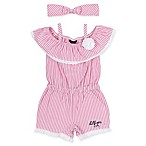 Tommy Hilfiger® Size 6-9M 2-Piece Romper and Headband Set in Pink/White