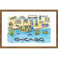 Marmont Hill Chicago Waterfront 36-Inch x 24-Inch Multicolor Framed Wall Art