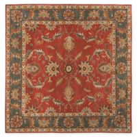 Surya Caesar Vintage-Inspired 4' Square Accent Rug in Red/Grey