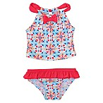 Floatimini Size 3M 2-Piece Coral Tile Print Tankini in Blue/Red