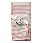 Born Loved™ Striped Knit/Sherpa Blanket in Pink