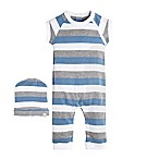 Burt's Bees Baby® Size 3M 2-Piece Tricolor Stripe Coverall and Hat Set in Blue