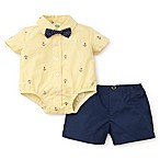 Little Me® Size 9M 2-Piece Sails Bodysuit and Chambray Short Set in Navy