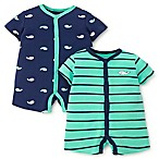 Little Me® Size 6M 2-Pack Whale Rompers in Green
