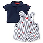 Little Me® Size 6M 2-Piece Crab Shortall and Shirt Set in Blue/White