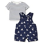 Little Me® Size 3M 2-Piece Anchor Shortall and Shirt Set in Navy
