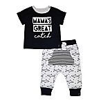 "Mini Heroes Newborn 2-Piece ""Mama's Great Catch"" Shirt and Pant Set"
