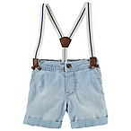 OshKosh B'gosh® Size 6-9M Suspender Chambray Short in Light Blue