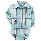 OshKosh B'gosh® Size 9-12M Button-Front Plaid Poplin Bodysuit in Aqua