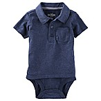 OshKosh B'gosh® Size 0-3M Double-Decker Polo Bodysuit in Navy