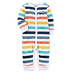 carter's® Size 3M Snap-Up Monster Stripe Sleep & Play Coverall in Ivory