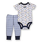 Lamaze® Size 3M 2-Piece Triangles Bodysuit and Pant Set in Blue