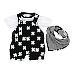 Kidding Around Size 9M 3-Piece Shortall, Shirt, and Bib Set in Black/White