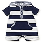 Little Me® Size 6M Stripe Hooded Romper in Navy