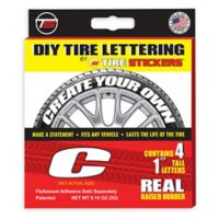 "Tire Stickers® 4-Pack Letter ""C"" Tire Stickers in White"