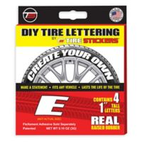 "Tire Stickers® 4-Pack Letter ""E"" Tire Stickers in White"