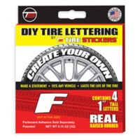 "Tire Stickers® 4-Pack Letter ""F"" Tire Stickers in White"