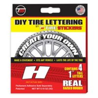 "Tire Stickers® 4-Pack Letter ""H"" Tire Stickers in White"