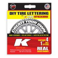 "Tire Stickers® 4-Pack Letter ""K"" Tire Stickers in White"