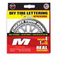 "Tire Stickers® 4-Pack Letter ""M"" Tire Stickers in White"