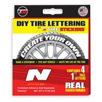 "Tire Stickers® 4-Pack Letter ""N"" Tire Stickers in White"