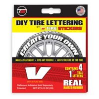 "Tire Stickers® 4-Pack Letter ""V"" Tire Stickers in White"