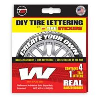 "Tire Stickers® 4-Pack Letter ""W"" Tire Stickers in White"