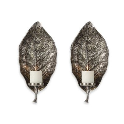 Uttermost 1 Light Poly Resin Zelkova Leaf Wall Wall Sconce Candle Holders  In Silver