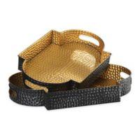 Uttermost Gatha 2-Piece Serving Tray Set in Bronze/Gold