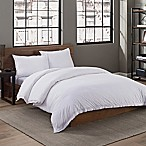 Garment Washed Solid Twin Duvet Cover Set in White