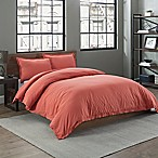 Garment Washed Solid King Duvet Cover Set in Coral