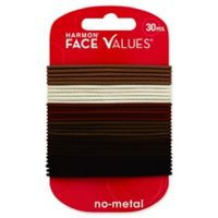 Harmon® Face Values™ 30-Count Thin Elastic Band Ponytail Holders in Natural