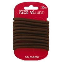 Harmon® Face Values™ 20-Count Elastic XL Thick Ponytail Holders in Brown