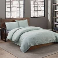 Garment Washed Solid King Duvet Cover Set in Seaglass