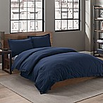 Garment Washed Solid Full/Queen Duvet Cover Set in Navy