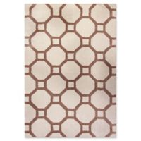 Dynamic Rugs Silky Shag Honeycomb 2' x 3'3 Accent Rug in White/Beige