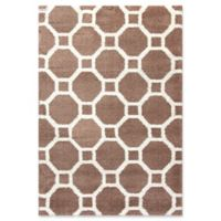 Dynamic Rugs Silky Shag Honeycomb 2' x 3'3 Accent Rug in Beige/White