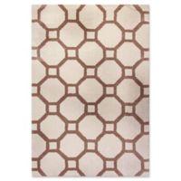Dynamic Rugs Silky Shag Honeycomb 3'11 x 5'7 Area Rug in White/Beige