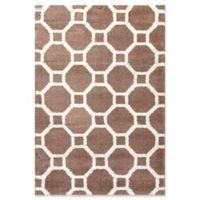 Dynamic Rugs Silky Shag Honeycomb 3'11 x 5'7 Area Rug in Beige/White