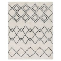 Surya Sherpa Geometric Shag 5' x 7'6 Accent Rug in White/Black