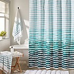 Bonaire Watercolor Stripe Shower Curtain in Aqua