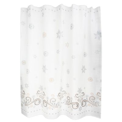 white and silver shower curtain. Lenox  French Perle Snowflake Shower Curtain Buy Metallic Silver Curtains from Bed Bath Beyond