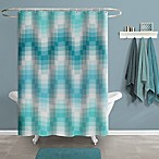 Chevron Tile Shower Curtain in Aqua