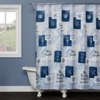 Saturday Knight Seaside Sentiments Shower Curtain in Blue