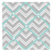 Sweet Jojo Designs Zig Zag Chevron Memo Board in Turquoise/Grey
