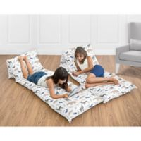 Sweet Jojo Designs Woodland Animals Floor Pillow Lounger Cover in Grey/Blue