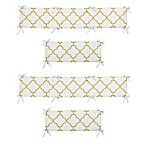 Sweet Jojo Designs Trellis 4-Piece Crib Bumper Set in White/Gold