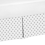 Sweet Jojo Designs Earth and Sky Triangle Print Crib Skirt in Grey/White
